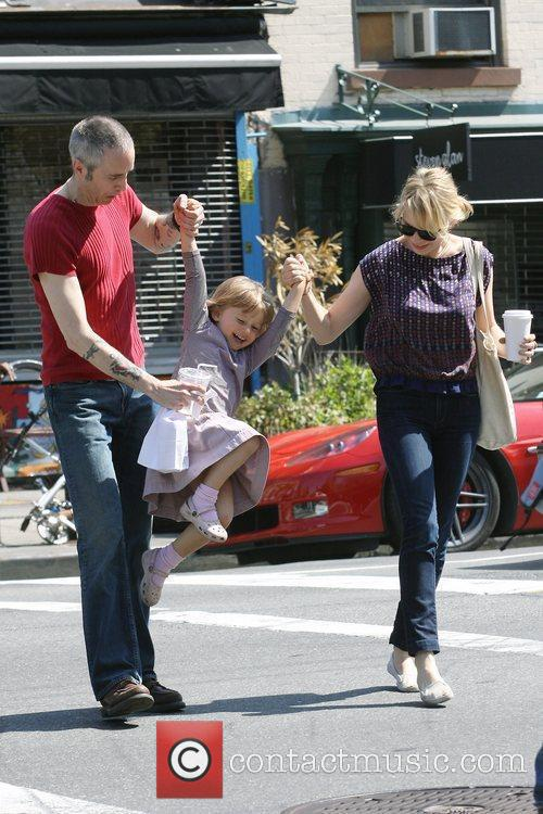 Michelle Williams, Matilda Ledger out, about in Brooklyn enjoying the warm. Matilda gets a lift from her mom and an older mystery male. 14