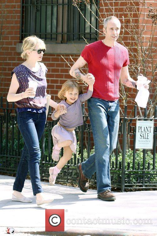 Michelle Williams, Matilda Ledger out, about in Brooklyn enjoying the warm. Matilda gets a lift from her mom and an older mystery male. 15