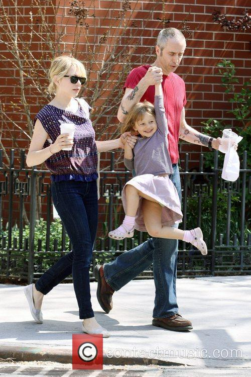 Michelle Williams, Matilda Ledger out, about in Brooklyn enjoying the warm. Matilda gets a lift from her mom and an older mystery male. 4