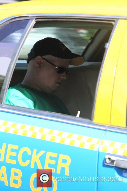 Matt Lucas seen getting into a taxi outside...