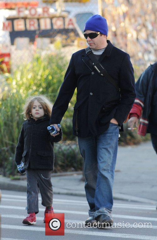 Matthew Broderick walking his son James Wilke Broderick...