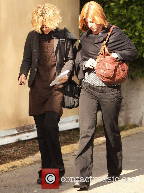 A camera shy Meg Ryan out and about...