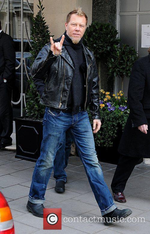 James Hetfield of Metallica leaving Claridge's Hotel London,...