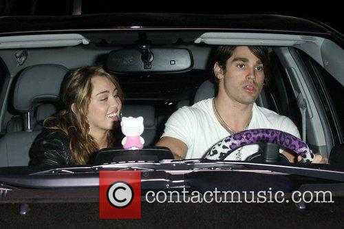 Miley Cyrus and Boyfriend Justin Gaston Leaving Koi Restaurant In West Hollywood