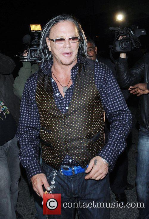 Mickey Rourke leaving Mr chow restaurant in Beverly...