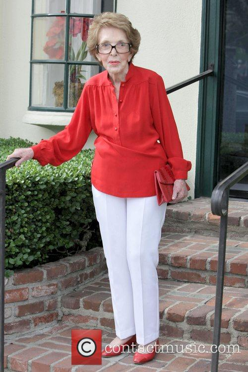 Former First Lady Nancy Reagan leaving Hugo Boss...