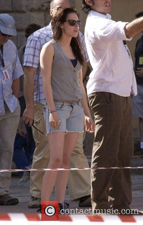 Kristen Stewart on set filming the sequel to...