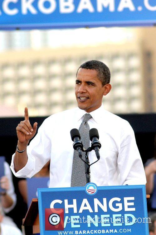 Presidential candidate Barack Obama  speaks at a...