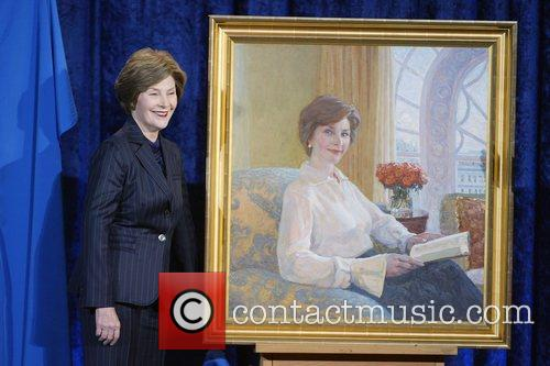 First Lady Laura Bush unveils her portrait at...