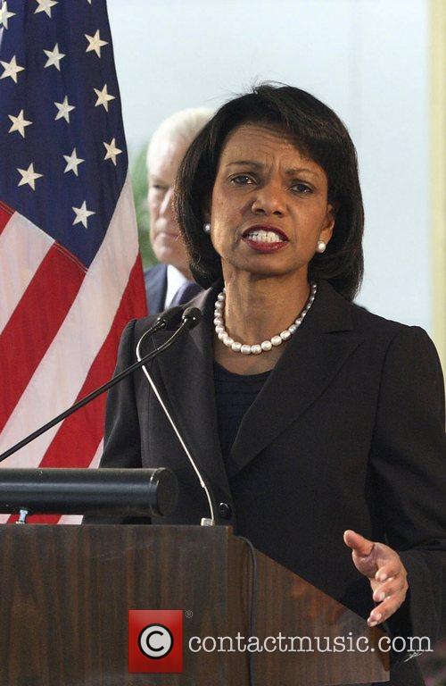 U.S. Secretary of State Condoleezza Rice speaks at...