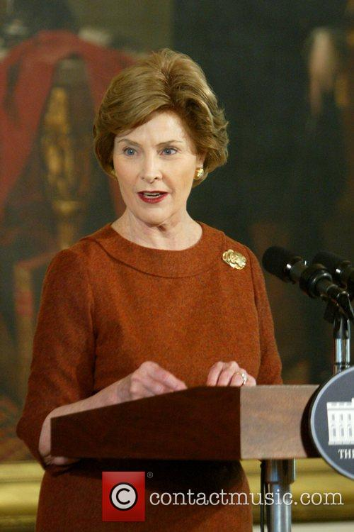 First lady Laura Bush delivers remarks at a...