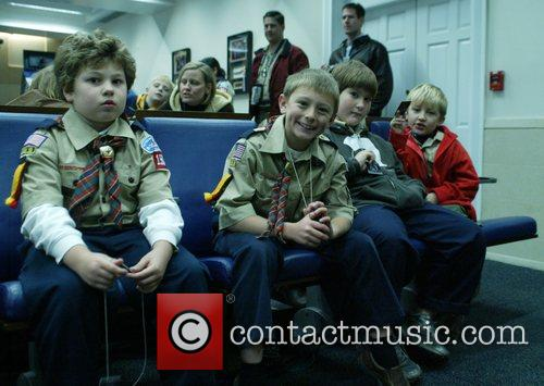 Greets Boy Scouts and Girl Scouts touring the...