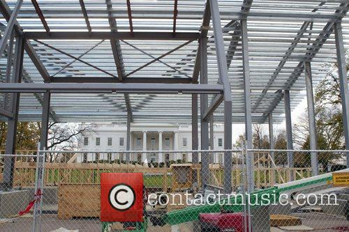 Construction on a reviewing stand in front of...