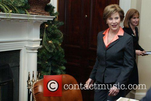 First Lady Laura Bush joins a video teleconference...
