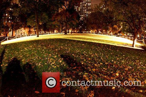 Artist Rafael Lozano-Hemmer's 'Pulse Park' installation records individuals'...
