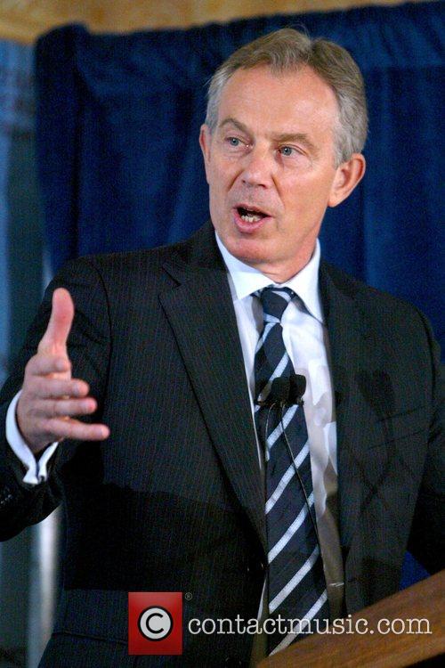 Former British Prime Minister Tony Blair spoke to...