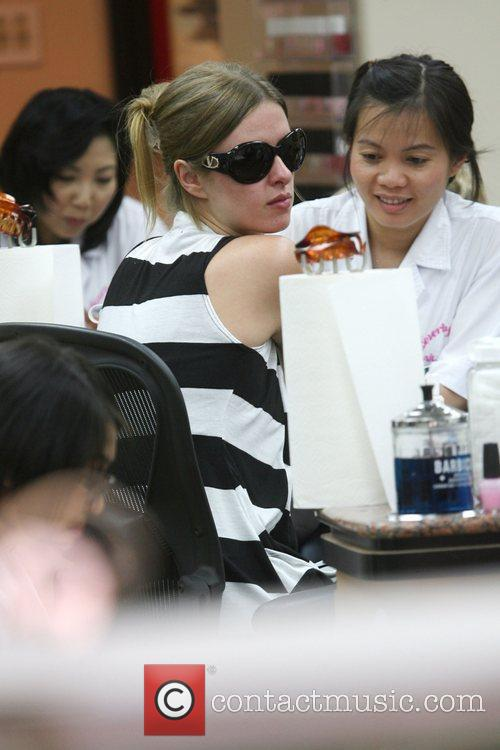 Nicky Hilton getting her nails done at a...