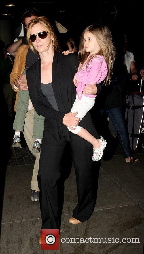 Noah Wyle and family arriving at LAX