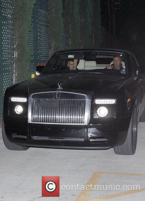 Victoria Beckham and David Beckham leaving Nobu restaurant
