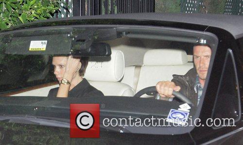Victoria Beckham and David Beckham leaving Nobu restaurant...