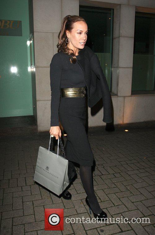 Tara Palmer-Tomkinson  outside Nobu Berkeley restaurant London,...