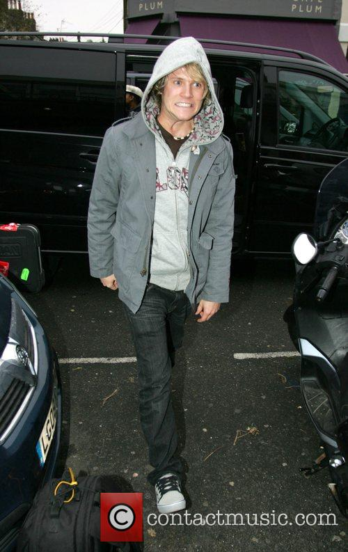 Dougie Poynter of McFly outside the Riverside Studios...