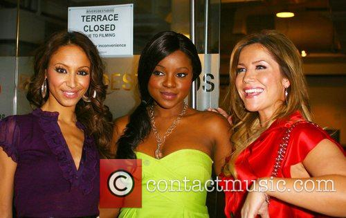 Amelle Berrabah.Keisha Buchanan and Heidi Range outside the...