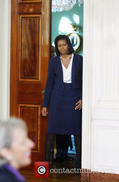 First Lady Michelle Obama at the signing of...