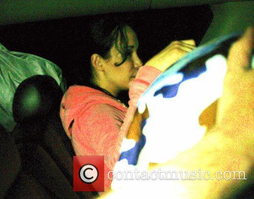 Octomom aka Nadya Suleman arriving home from the...