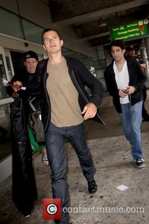 Orlando Bloom arriving at JFK International Airport from...