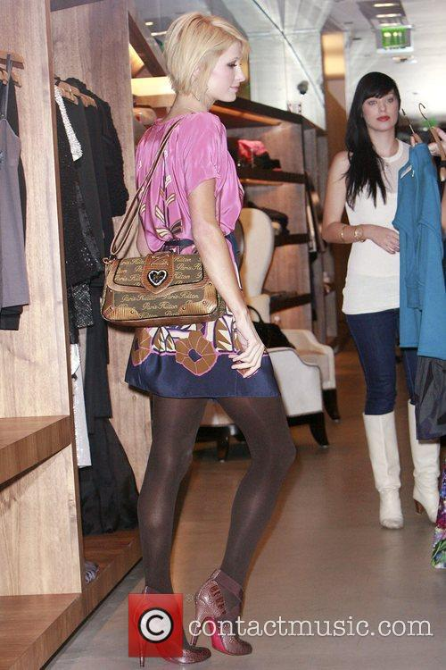 Paris Hilton out shopping with her new haircut...
