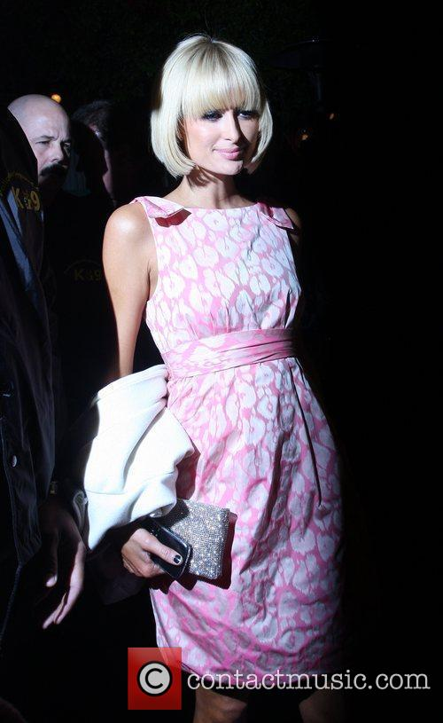 Paris Hilton leaving the Ivy Restaurant with her...