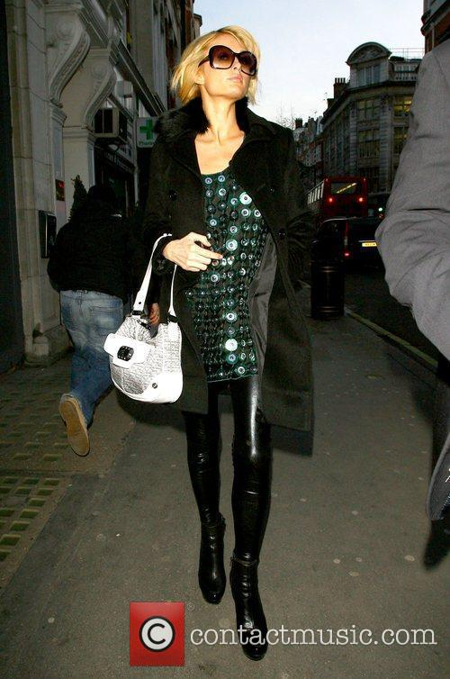 Paris Hilton leaving the BBC Radio One studios...