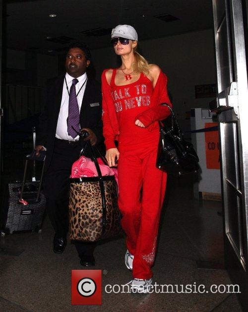 Paris Hilton seen arriving at LAX airport. Los...