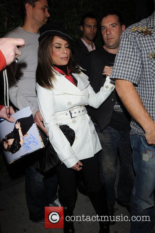 Paula Abdul meets fans outside Koi restaurant West...