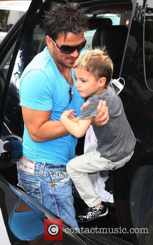 Peter Andre and son Junior go for coffee...