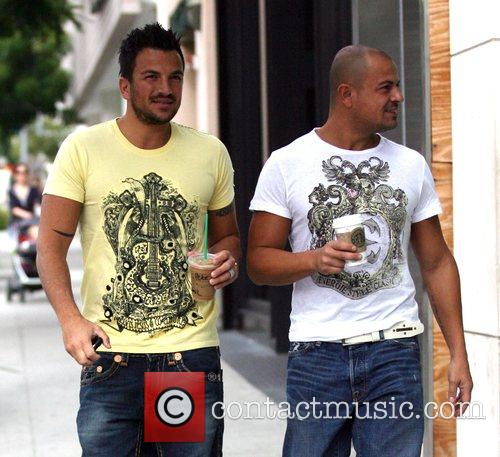 Peter Andre  drinking Starbucks whilst out with...