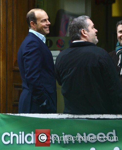 Phil Spencer and Chris Moyles having a cigarette...