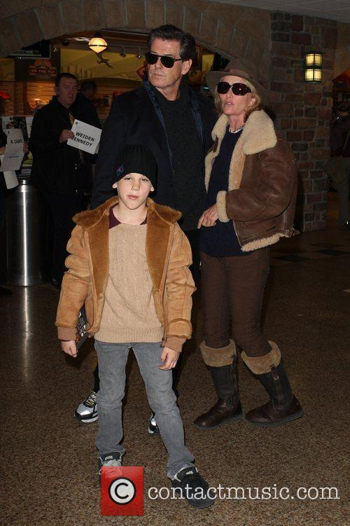 Pierce Brosnan arriving with his family at Salt...