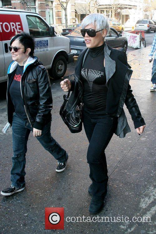 Pink aka Alecia Moore seen walking through Soho...