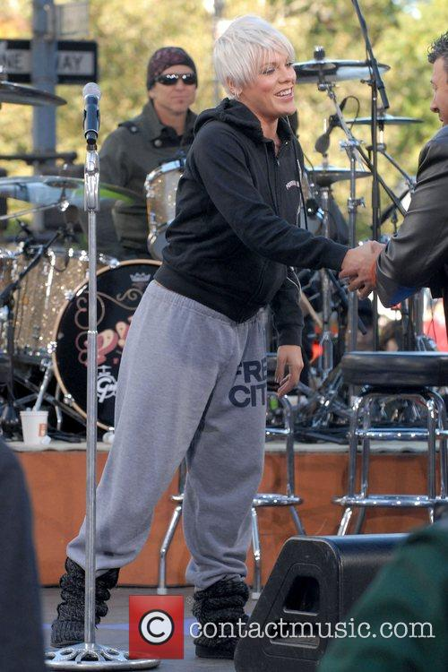 Pink rehearses before performing live on CBS' 'The...
