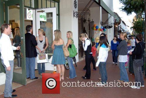 Guests at the grand Opening of Pinkberry in...