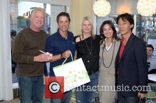 Rob Lowe and guests Grand Opening of Pinkberry...