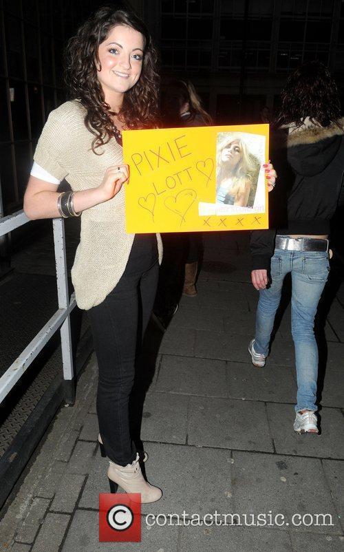 Pixie Lott fan outsideat Radio 1 studios London,...