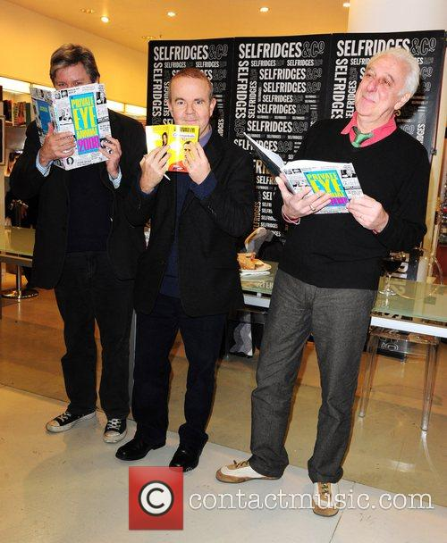 Nick Newman, Ian Hislop and Barry Fantoni signing...