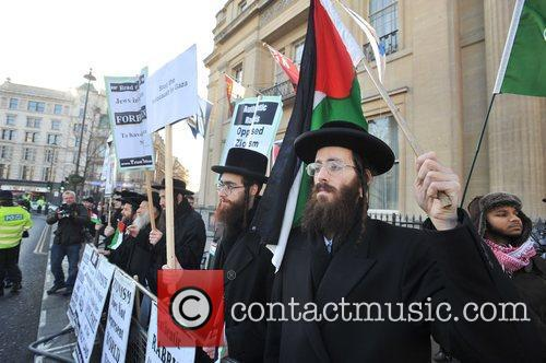 Orthodox Jewish counter-demonstration at a Pro-Israel rally held...