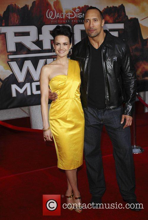 Carla Gugino and Dwayne Johnson Premiere of 'Race...