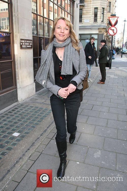 Leaving Radio One studios after presenting her afternoon...