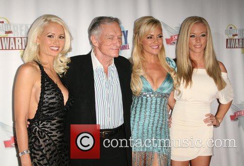 Holly Madison, Bridget Marquardt and Hugh Hefner 1