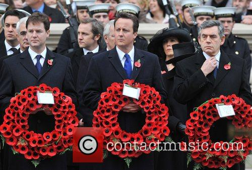 Nick Clegg, David Cameron, Gordon Brown Remembrance Sunday...